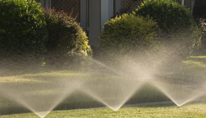 Sprinklers spraying